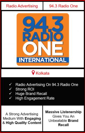 Radio Advertising in Kolkata, advertising on radio in Kolkata, radio ads in Kolkata, advertising in Kolkata, 94.3 RADIO ONE FM Advertising in Kolkata