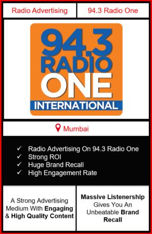 Radio Advertising in Mumbai, advertising on radio in Mumbai, radio ads in Mumbai, advertising in Mumbai, 94.3 RADIO ONE FM Advertising in Mumbai