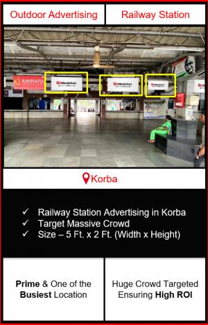 Advertising on korba railway station, advertising on railway station in korba Chhattisgarh, korba railway station branding, railway station advertising agency