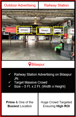 Advertising on bilaspur railway station, advertising on railway station in Chhattisgarh, bilaspur railway station branding, railway station advertising agency