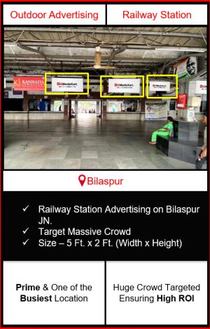 Advertising on bilaspur railway station, advertising on railway station in Chhattisgarh, bilaspur railway station branding, railway station advertising agency