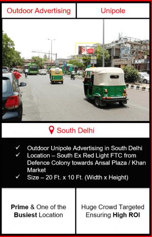 Outdoor advertising in south delhi, outdoor advertising in delhi, south delhi unipole advertising, ooh advertising in south delhi