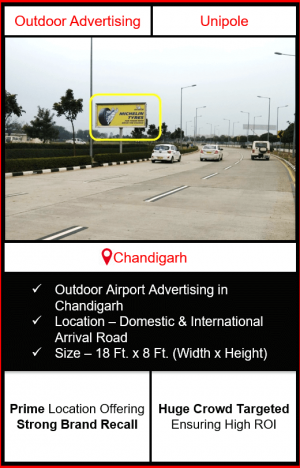 Outdoor airport advertising in chandigarh, outdoor airport branding in chandigarh, chandigarh unipole airport advertising, ooh advertising in chandigarh, outdoor airport advertising agency in chandigarh