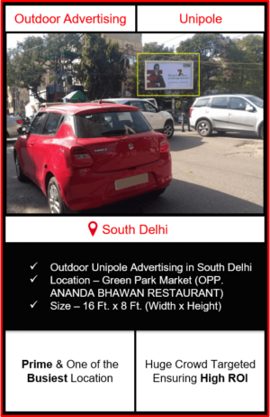 Outdoor advertising in south delhi, outdoor advertising in delhi, south delhi unipole advertising, ooh advertising in south delhi