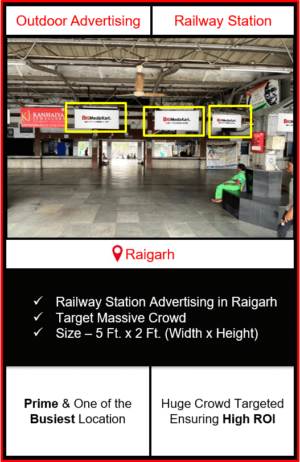 Advertising on raigarh railway station, advertising on railway station in raigarh Chhattisgarh, raigarh railway station branding, railway station advertising agency