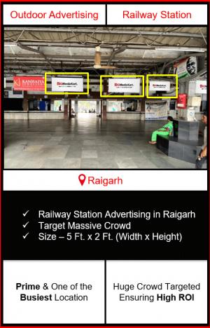 Advertising on raigarh railway station, advertising on railway station in raigarh Chhattisgarh, raigarh railway station branding, railway station advertising agency