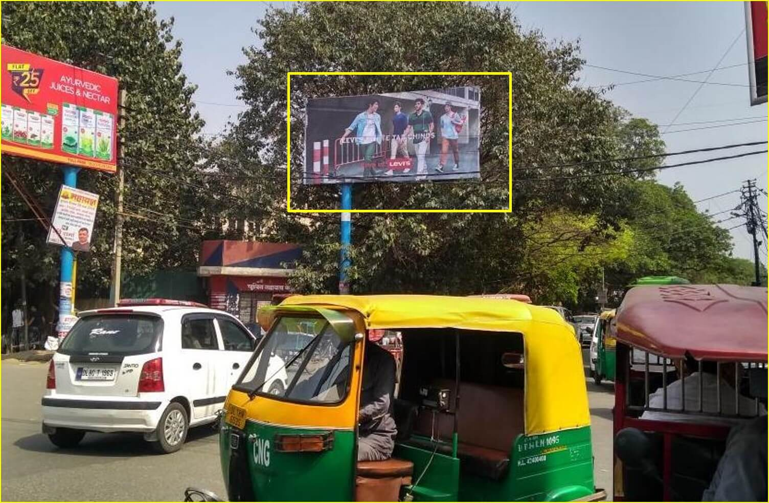 Option No.1 Outdoor Unipole Advertising at Kamla Nagar Main Market (Near Bindals) FTC from Shakti Nagar to Bunglow Road
