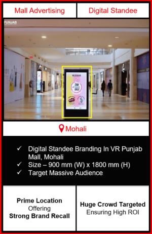 standee advertising in vr punjab mall, branding in vr punjab mall mohali, standee branding in vr punjab mall, advertising on standee in vr punjab mall