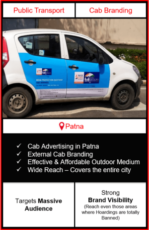 cabs advertising in patna, cab branding in patna, advertising on cabs in patna, cab branding, cab advertising