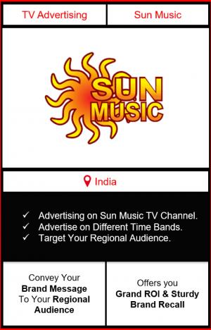 sun music advertising, advertising on sun music tv channel, ad on sun music, branding on sun music, sun music advertising agency