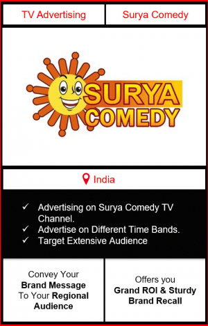 surya comedy advertising, ad on surya comedy, advertising on surya comedy, surya comedy advertising agency