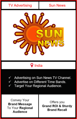 sun news advertising, advertising on sun news tv channel, ad on sun news, branding on sun news, sun news advertising agency