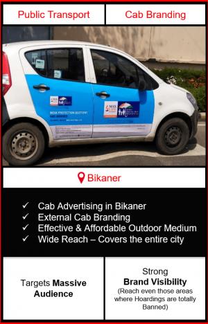 cabs advertising in Bikaner, cab branding in Bikaner, advertising on cabs in Bikaner, cab branding, cab advertising