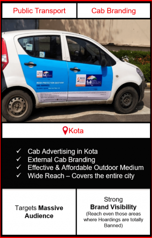 cabs advertising in kota, cab branding in kota, advertising on cabs in kota, cab branding, cab advertising