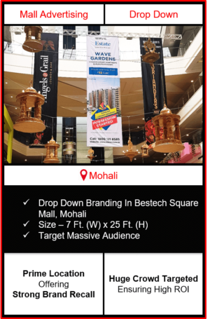 advertising in bestech sqaure mall, dropdown branding bestech mall mohali, advertising in bestech mall, advertising agency in mohali