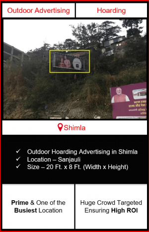 hoarding advertising in shimla, hoarding advertising on sanjauli, outdoor advertising in shimla, advertising agency in shimla