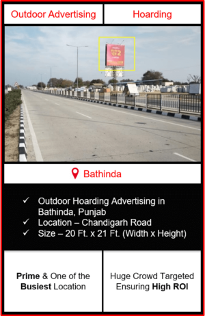 outdoor advertising in bathinda, hoarding advertising in bathinda, outdoor branding in bathinda