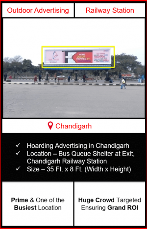 hoarding advertising in chandigarh, railway station advertising in chandigarh, advertising at chandigarh railway station, railway station bqs branding in chandigarh, best advertising agency in chandigarh