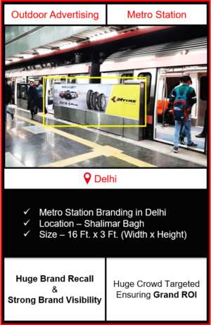 advertising on metro station, advertising on shalimar bagh metro station, metro station branding in delhi, delhi metro branding