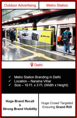 advertising on metro station, advertising on naraina vihar metro station, metro station branding in delhi, delhi metro branding