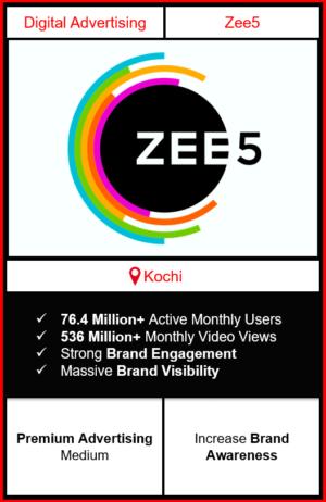 zee5 app advertising in kochi, zee5 advertising, ads on zee5, how to advertise on zee5, zee5 branding