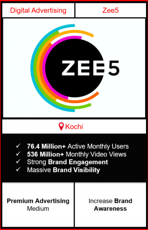 zee5 app advertising in kochi, zee5 advertising, ads on zee5, how to advertise on zee5, zee5 branding