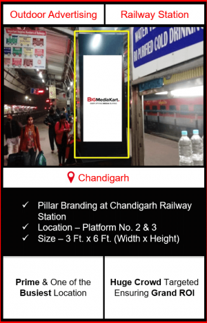 pillar advertising in chandigarh, railway station advertising in chandigarh, advertising at chandigarh railway station, railway station pillar branding in chandigarh, best advertising agency in chandigarh