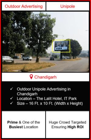 outdoor advertising in chandigarh, outdoor unipole advertising in chandigarh, advertising in it park chandigarh, unipole branding in it park chandigarh