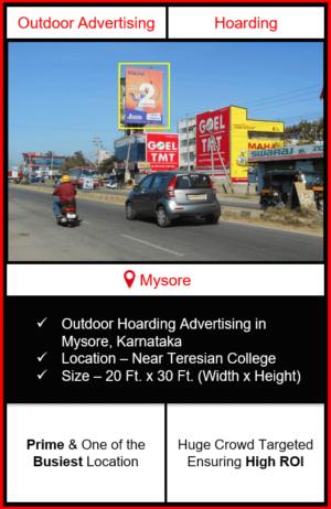 Outdoor hoarding advertising in Mysore, outdoor advertising in Mysore, hoarding advertising in Mysore, Mysore outdoor ads agency, advertising agency in Mysore, Karnataka