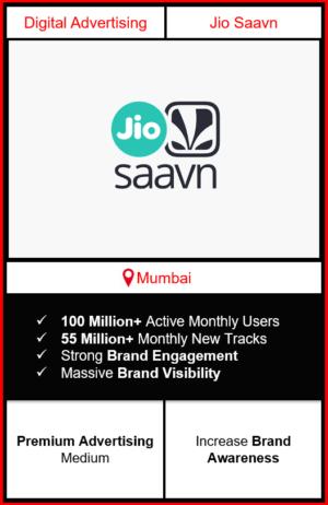 jio saavn app advertising in Mumbai, jio saavn advertising, ads on jio saavn, how to advertise on jio saavn, jio saavn branding in Mumbai