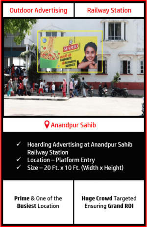 outdoor hoarding advertising in anandpur sahib, anandpur sahib railway station advertising, outdoor advertising in anandpur sahib